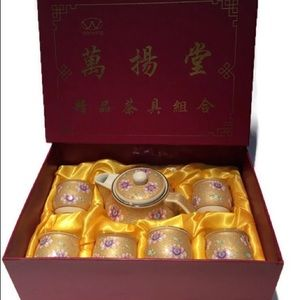 NWOT Wanyang Tea/Warm Saki 7 pc set,6 cups,tea pot
